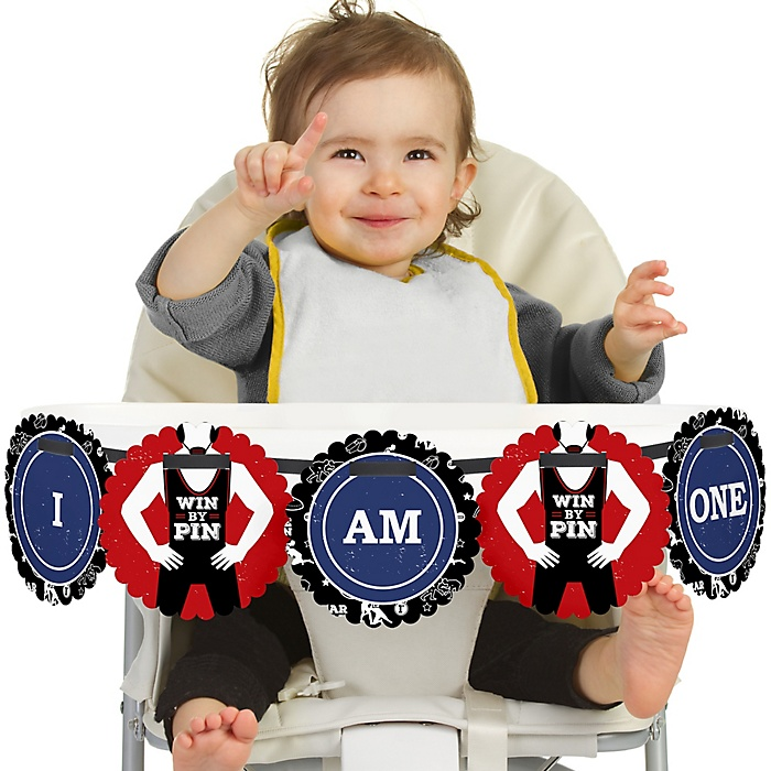 Own The Mat - Wrestling 1st Birthday - I am One - First Birthday High Chair Birthday Banner