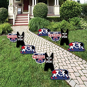Own The Mat - Wrestling - Lawn Decorations - Outdoor Birthday Party or Wrestler Party Yard Decorations - 10 Piece