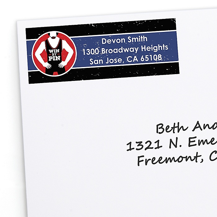 Own The Mat - Wrestling - Personalized Birthday Party or Wrestler Party Return Address Labels - 30 ct