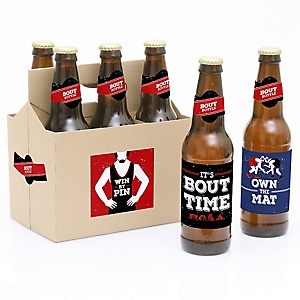 Own The Mat - Wrestling - Decorations for Women and Men - 6 Wrestler Party Soda/Beer Bottle Label Stickers and 1 Carrier