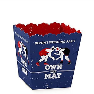 Own The Mat - Wrestling - Party Mini Favor Boxes - Personalized Birthday Party or Wrestler Party Treat Candy Boxes - Set of 12