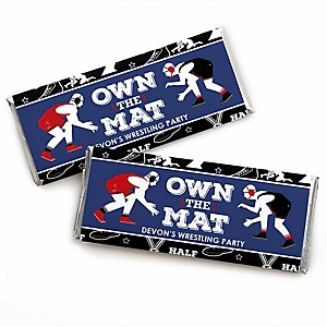 Own The Mat - Wrestling - Personalized Candy Bar Wrapper Birthday Party or Wrestler Party Favors - Set of 24