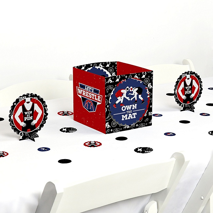 Own The Mat - Wrestling - Birthday Party or Wrestler Party Centerpiece and Table Decoration Kit