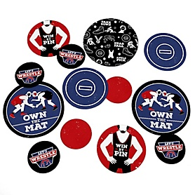 Own The Mat - Wrestling - Birthday Party or Wrestler Party Giant Circle Confetti - Party Decorations - Large Confetti 27 Count