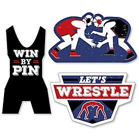 Own The Mat - Wrestling - DIY Shaped Birthday Party or Wrestler Party Cut-Outs - 24 ct