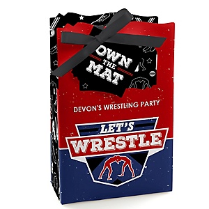 Own The Mat - Wrestling - Personalized Birthday Party or Wrestler Party Favor Boxes - Set of 12