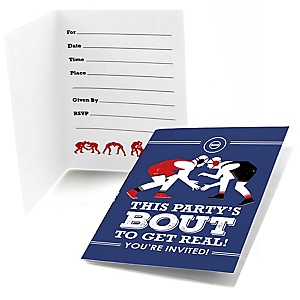 Own The Mat - Wrestling - Fill In Birthday Party or Wrestler Party Invitations - 8 ct