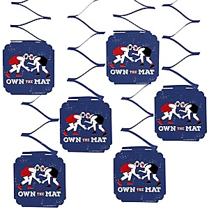 Own The Mat - Wrestling - Birthday Party or Wrestler Party Hanging Decorations - 6 ct
