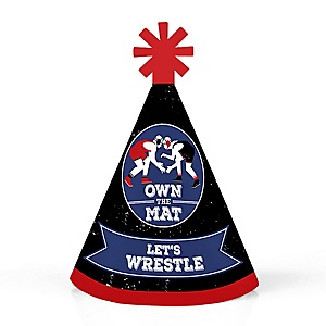 Own The Mat - Wrestling - Personalized Mini Cone Birthday Party or Wrestler Party Hats - Small Little Party Hats - Set of 10
