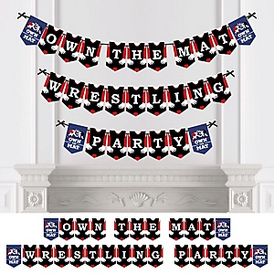 Own The Mat - Wrestling - Personalized Birthday Party or Wrestler Party Bunting Banner & Decorations