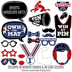 Own The Mat - Wrestling - 20 Piece Birthday Party or Wrestler Party Photo Booth Props Kit
