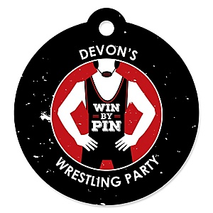 Own The Mat - Wrestling - Personalized Birthday Party or Wrestler Party Favor Gift Tags - 20 ct