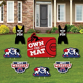 Own The Mat - Wrestling - Yard Sign & Outdoor Lawn Decorations - Birthday Party or Wrestler Party Yard Signs - Set of 8