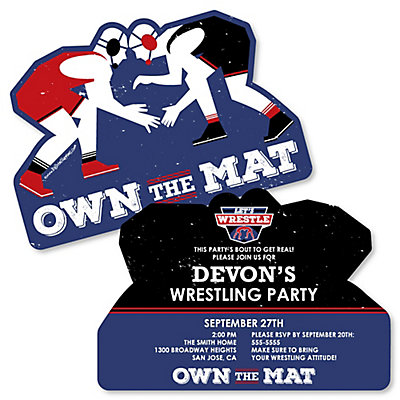 Own the mat wrestling shaped birthday party invitations set of 12 filmwisefo