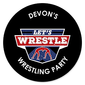 Own The Mat - Wrestling - Personalized Birthday Party or Wrestler Party Sticker Labels - 24 ct