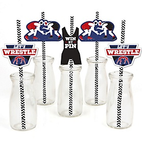 Own The Mat - Wrestling - Paper Straw Decor - Birthday Party or Wrestler Party Striped Decorative Straws - Set of 24