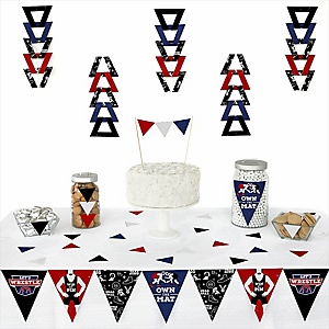 Own The Mat - Wrestling -  Triangle Birthday Party or Wrestler Party Decoration Kit - 72 Piece