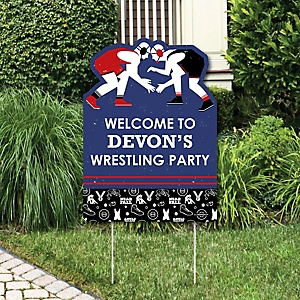 Own The Mat - Wrestling - Party Decorations - Birthday Party or Wrestler Party Personalized Welcome Yard Sign