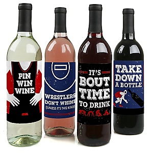 Own The Mat - Wrestling - Wrestler Party Decorations for Women and Men - Wine Bottle Label Stickers - Set of 4