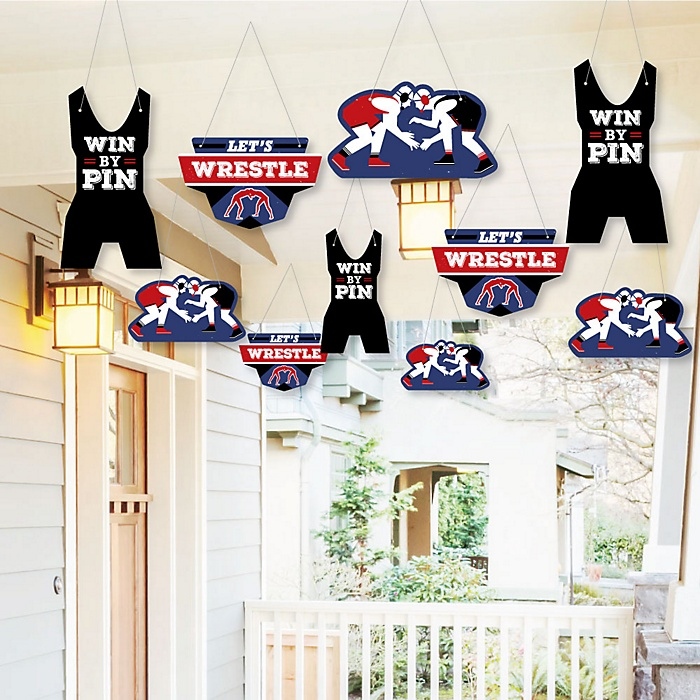 Hanging Own The Mat - Wrestling - Outdoor Birthday Party or Wrestler Party Hanging Porch & Tree Yard Decorations - 10 Pieces