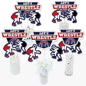Own The Mat - Wrestling - Birthday Party or Wrestler Party Centerpiece Sticks - Table Toppers - Set of 15