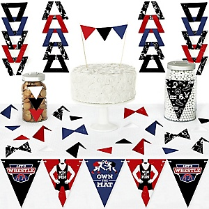 Own The Mat - Wrestling - DIY Pennant Banner Decorations - Birthday Party or Wrestler Party Triangle Kit - 99 Pieces