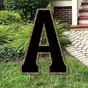 "Yard Letter A - Black and Gold - 15.5"" Letter Outdoor Lawn Party Decoration - Letter A"