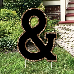 "Yard Ampersand - Black and Gold - 15.5"" Letter Outdoor Lawn Party Decoration - Ampersand"