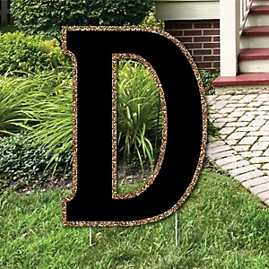 "Yard Letter D - Black and Gold - 15.5"" Letter Outdoor Lawn Party Decoration - Letter D"