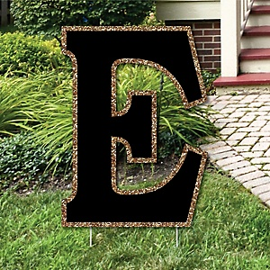 "Yard Letter E - Black and Gold - 15.5"" Letter Outdoor Lawn Party Decoration - Letter E"