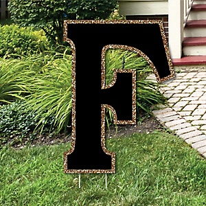 "Yard Letter F - Black and Gold - 15.5"" Letter Outdoor Lawn Party Decoration - Letter F"