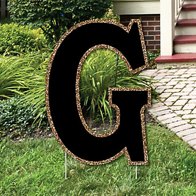 Yard letter g black and gold 15 5 letter outdoor lawn for Letter g decoration
