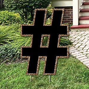 "Yard Hashtag - Black and Gold - 15.5"" Letter Outdoor Lawn Party Decoration - Hashtag"