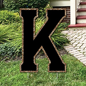 "Yard Letter K - Black and Gold - 15.5"" Letter Outdoor Lawn Party Decoration - Letter K"