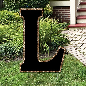 "Yard Letter L - Black and Gold - 15.5"" Letter Outdoor Lawn Party Decoration - Letter L"