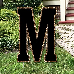 "Yard Letter M - Black and Gold - 15.5"" Letter Outdoor Lawn Party Decoration - Letter M"
