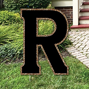 "Yard Letter R - Black and Gold - 15.5"" Letter Outdoor Lawn Party Decoration - Letter R"