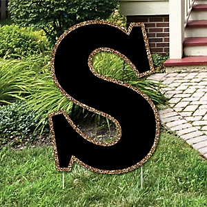 "Yard Letter S - Black and Gold - 15.5"" Letter Outdoor Lawn Party Decoration - Letter S"