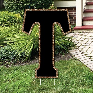 "Yard Letter T - Black and Gold - 15.5"" Letter Outdoor Lawn Party Decoration - Letter T"