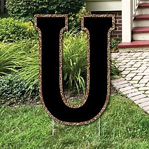 "Yard Letter U - Black and Gold - 15.5"" Letter Outdoor Lawn Party Decoration - Letter U"