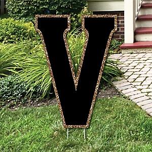 """Yard Letter V - Black and Gold - 15.5"""" Letter Outdoor Lawn Party Decoration - Letter V"""