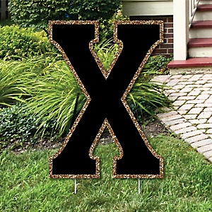 "Yard Letter X - Black and Gold - 15.5"" Letter Outdoor Lawn Party Decoration - Letter X"