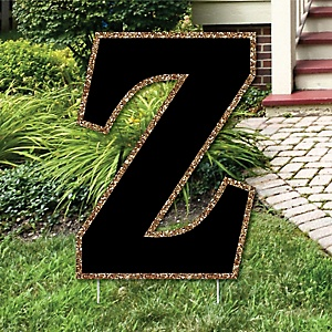 "Yard Letter Z - Black and Gold - 15.5"" Letter Outdoor Lawn Party Decoration - Letter Z"