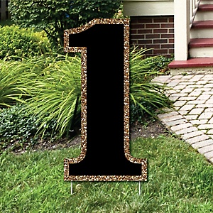 "Yard Number 1 - Black and Gold - 15.5"" Number Outdoor Lawn Party Decoration - Number 1"