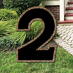 "Yard Number 2 - Black and Gold - 15.5"" Number Outdoor Lawn Party Decoration - Number 2"
