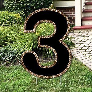 "Yard Number 3 - Black and Gold - 15.5"" Number Outdoor Lawn Party Decoration - Number 3"