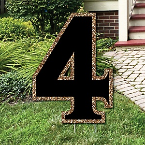 "Yard Number 4 - Black and Gold - 15.5"" Number Outdoor Lawn Party Decoration - Number 4"