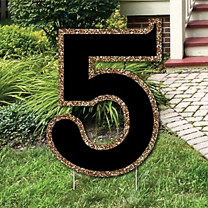 "Yard Number 5 - Black and Gold - 15.5"" Number Outdoor Lawn Party Decoration - Number 5"