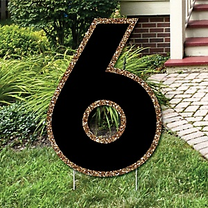 "Yard Number 6 - Black and Gold - 15.5"" Number Outdoor Lawn Party Decoration - Number 6"