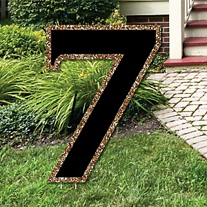 "Yard Number 7 - Black and Gold - 15.5"" Number Outdoor Lawn Party Decoration - Number 7"